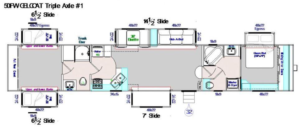 50 Foot Fifth Wheel 5 Slide Outs Corner Kitchen Fireplace 2 Bath 1 Corner Tub Shower Combo 1 Show Rv Floor Plans Corner Tub Shower Combo Corner Tub Shower