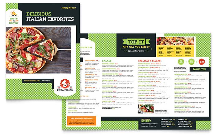Pizza Parlor Menu Template Design By StockLayouts Go Pinterest - Delivery menu template