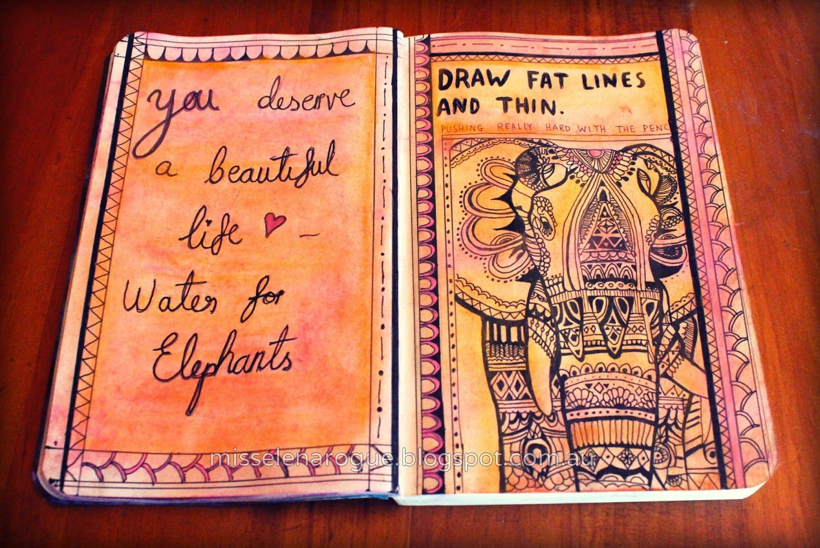 Wreck this journal ideas, Draw fat lines and thin. #Art