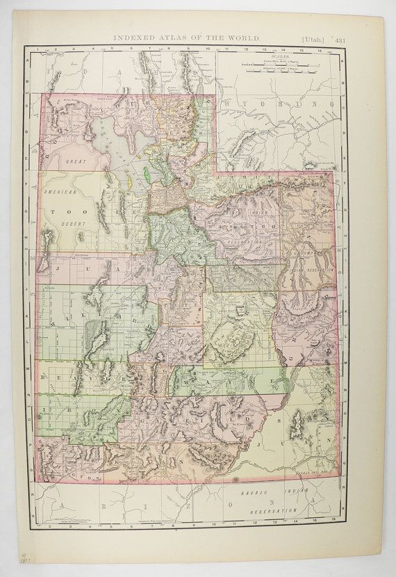 Vintage Map Of Utah 1897 Rand Mcnally Utah Map Western Us State Map