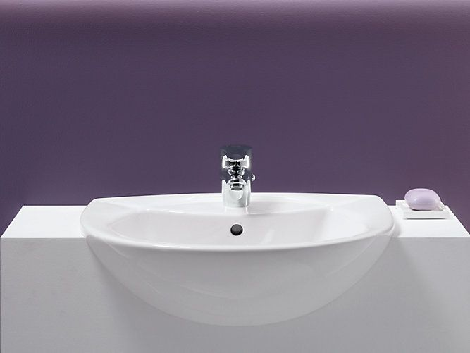 Odeon Semi Recessed Sink With Single Faucet Hole K 11160 1 Kohler Min 10 5 8 Counter Depth
