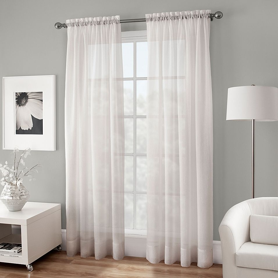 Crushed Voile Sheer 144 Rod Pocket Window Curtain Panel In White