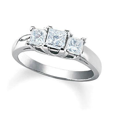68af89d1b Adore! 1 CT. T.W. Princess Cut Diamond Three Stone Ring in 14K White Gold  ITEM #: 17445321