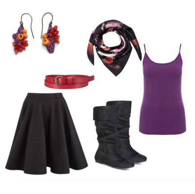 Bright Colors, purple top, red belt, eco-friendly coral earrings from Six Ways to Style a Midi Skirt - Casey Sharpe Jewelry