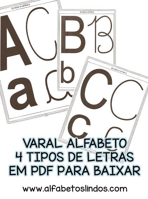 Varal Abecedario 4 Quatro Tipos De Letras Para Baixar Em Pdf