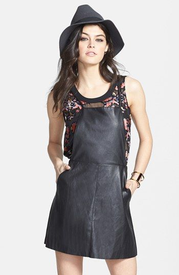 0985b95d42e ASTR Faux Leather Pinafore Dress available at  Nordstrom