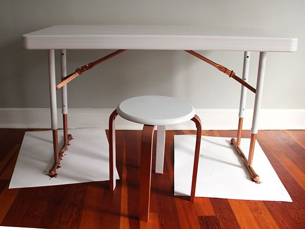 Upcycle A Plastic Folding Table Into A Chic Desk Diy Table Chic Desk Folding Chair Makeover