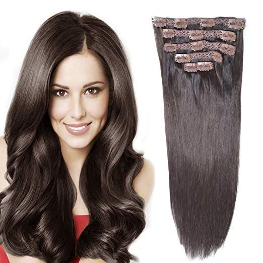 Amazon.com: 14Remy Human Hair Clip in Extensions for Women Thick to Ends Dark Brown(#2) 6Pieces 70grams/2.45oz: Beauty #humanhairextensions