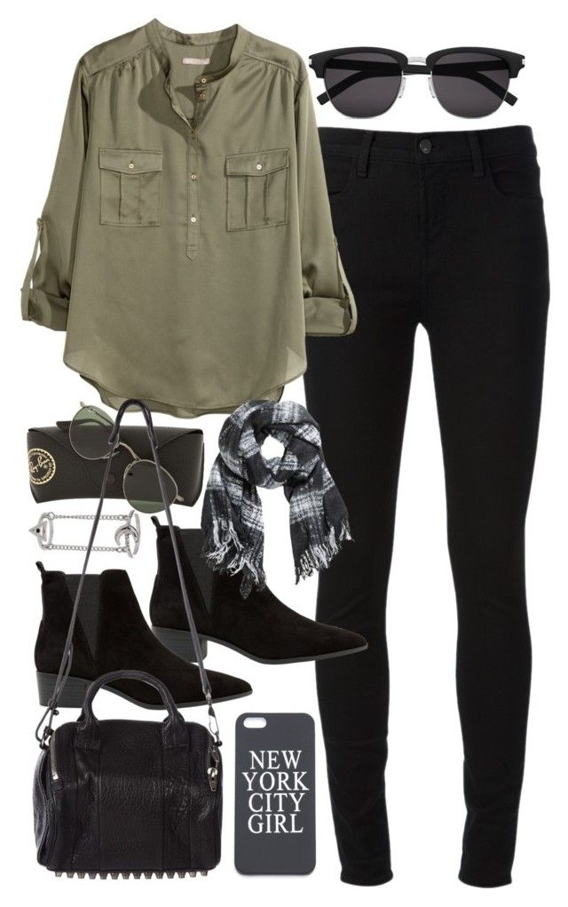 """Outfit for shopping with friends"" by ferned ❤ liked on Polyvore featuring J Brand, MANGO, H&M, Yves Saint Laurent, Topshop, Ray-Ban and Alexander Wang"