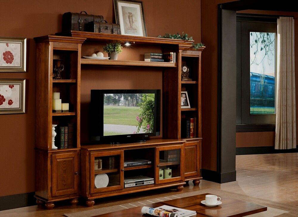 4 Pc Dita Light Oak Finish Wood Slim Profile Entertainment Center Wall Unit W Oak
