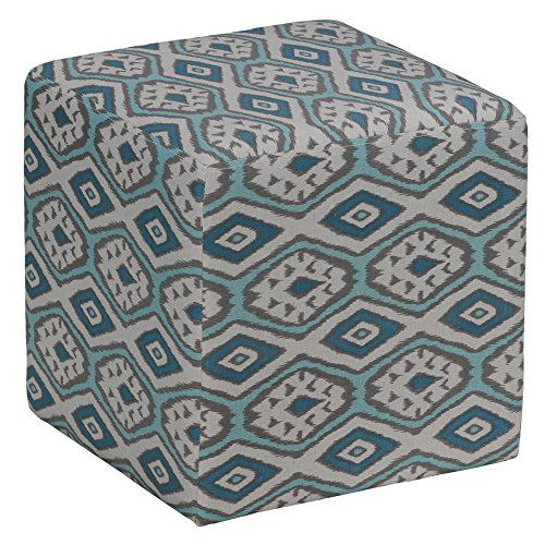 Cortesi Home Braque Cube Ottoman in Blue Linen Ikat Print Fabric ...