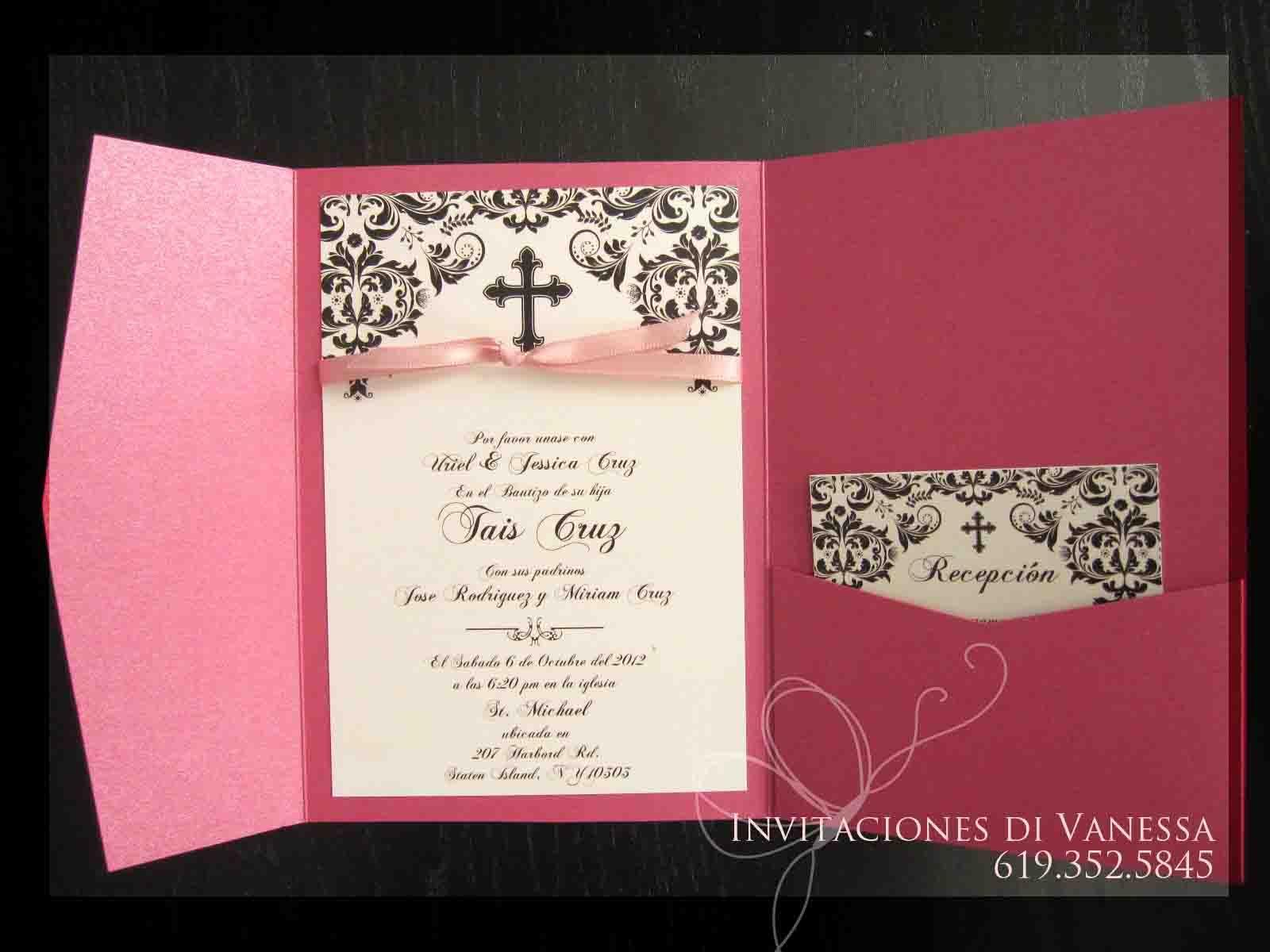 pocket fold christening invitation my invitations pinterest