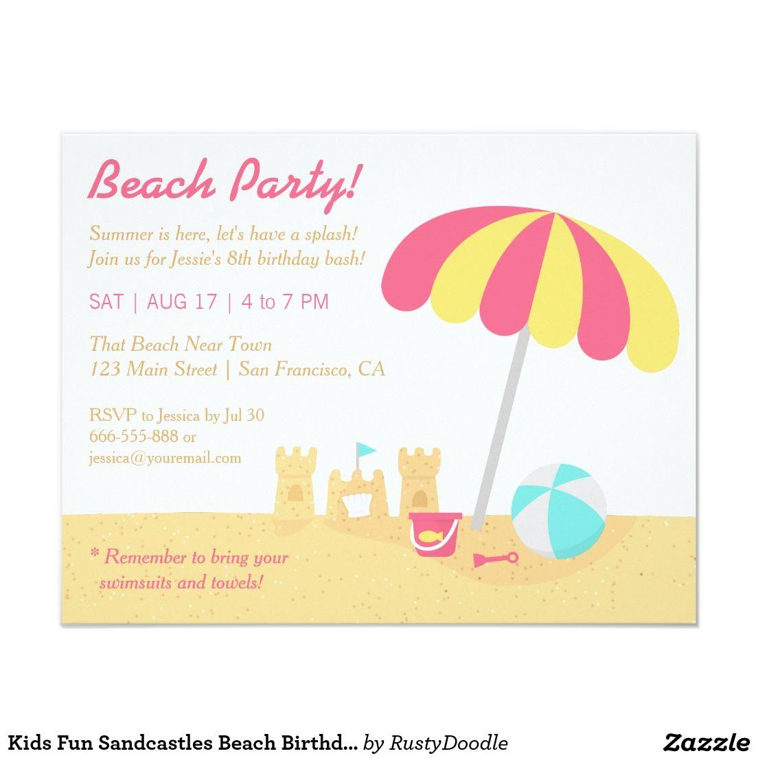 Kids Fun Sandcastles Beach Birthday Party Invitation | Lillian\'s 2nd ...