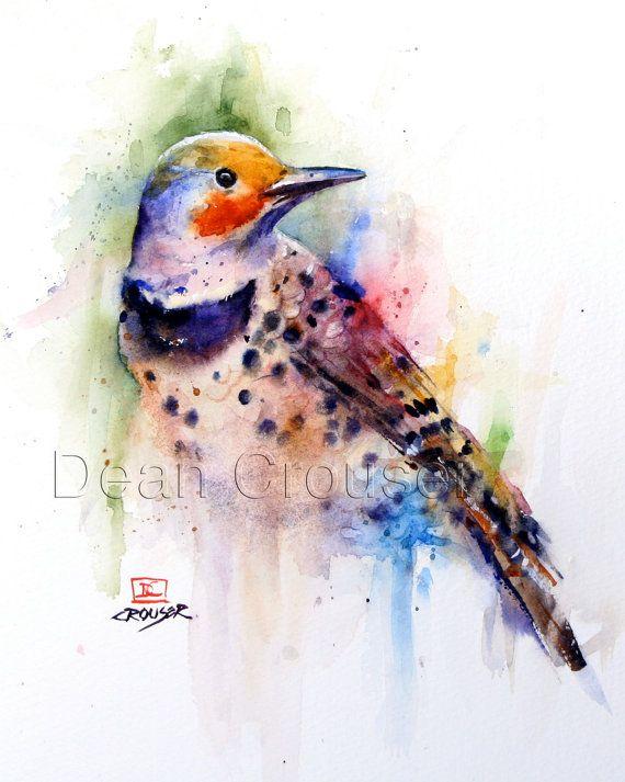 Flicker Watercolor Bird Print Woodpecker Art By Dean Crouser