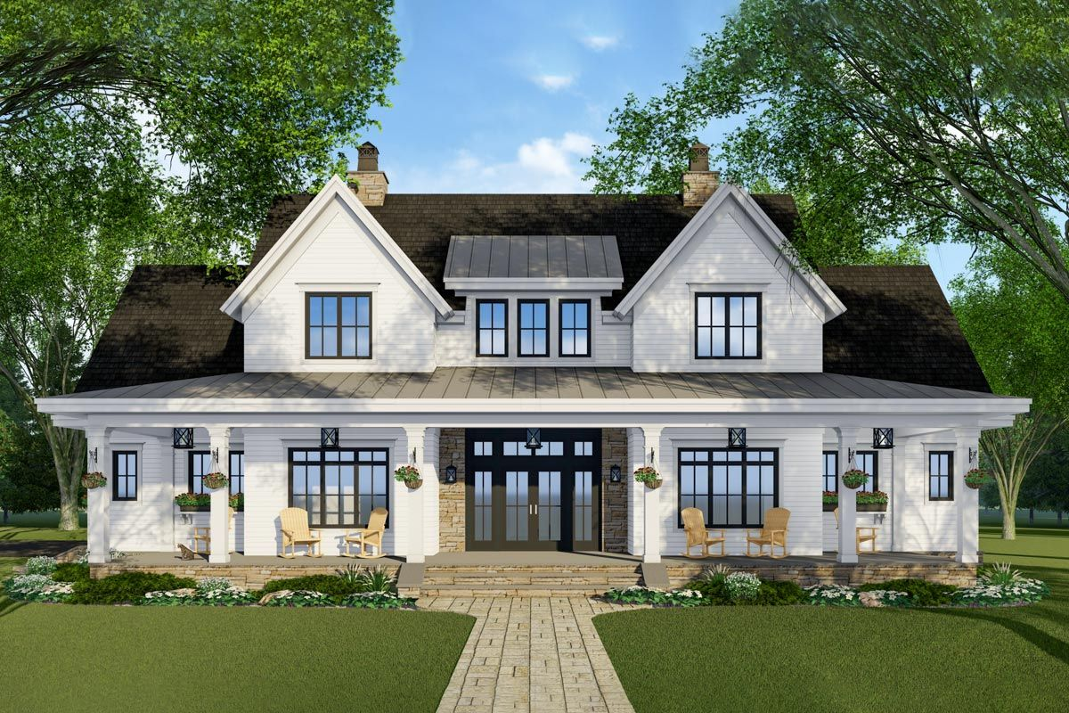 Modern Farmhouse Plan with French Door Greeting