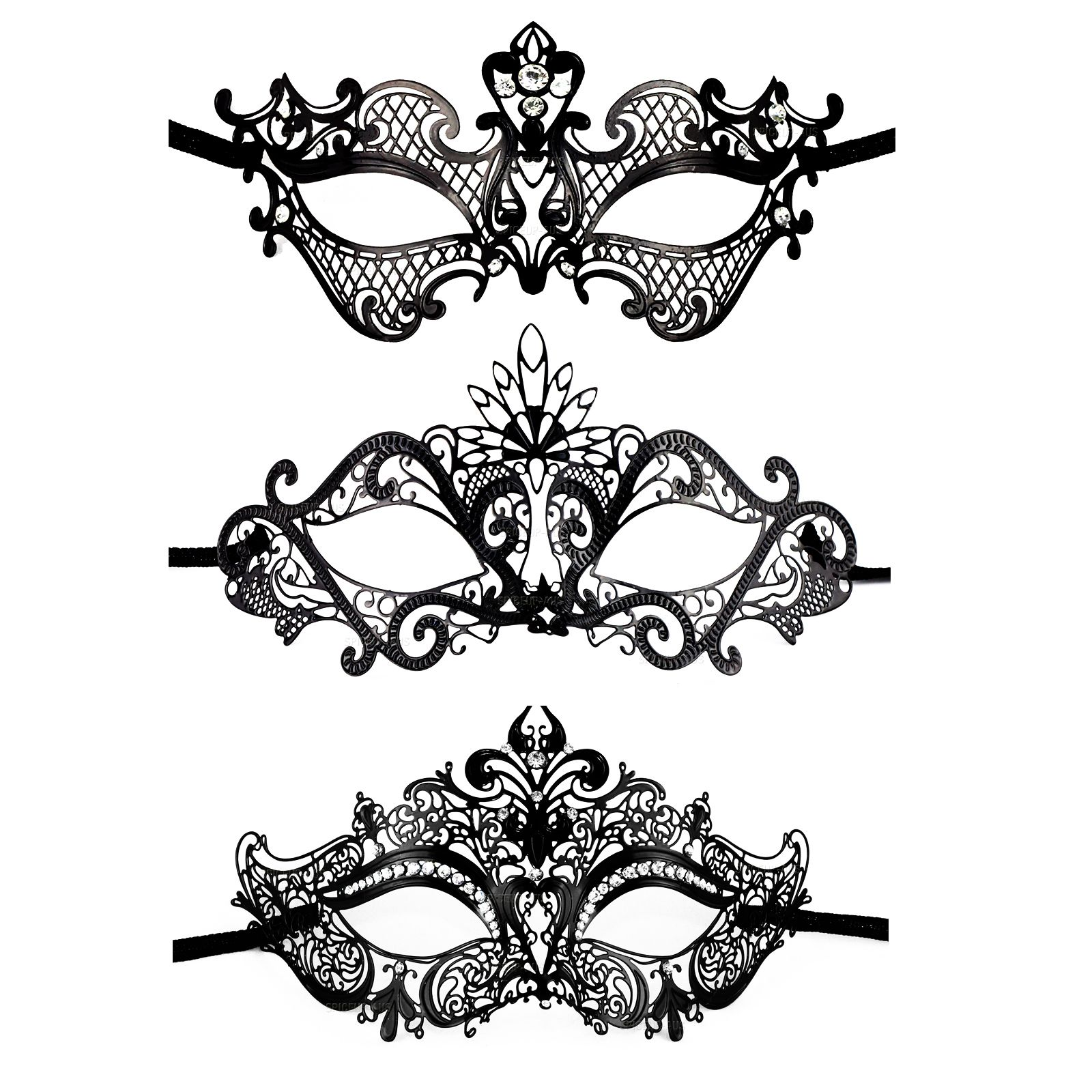 Black Venetian Design Mardi Gras Metal Masquerade Mask Dress Up ...