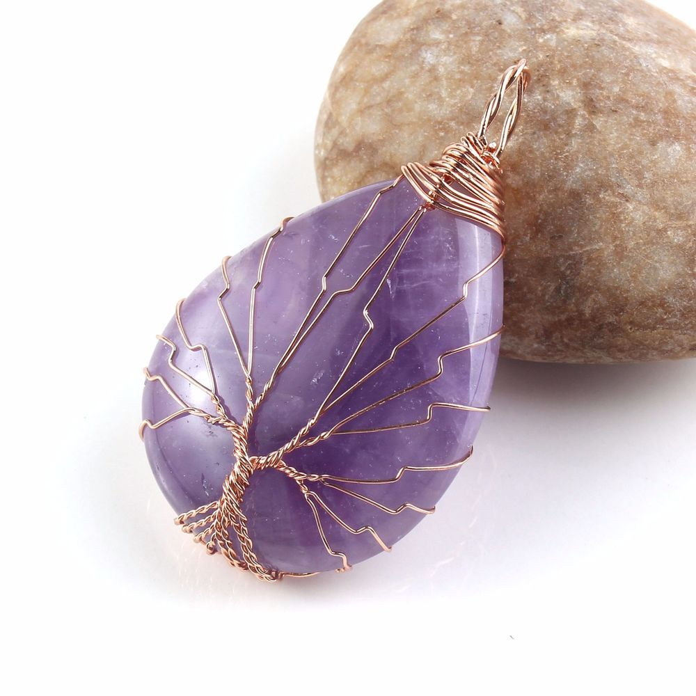 Rose Gold Tree of Life Wire Wrapped Amethyst Teardrop Gemstone