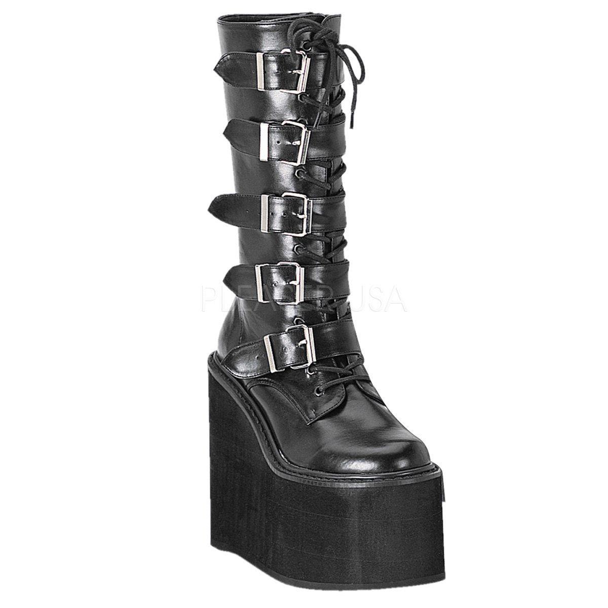 Demonia SWING 220 schwarz Calf Vegan Leder Damens's Mid Calf schwarz & Knee 7c9374