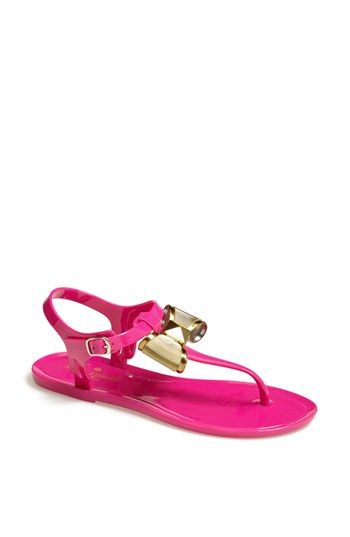 4f98e6d82ef Hot Pink jelly sandals with a gold bow.  kate spade new york ...