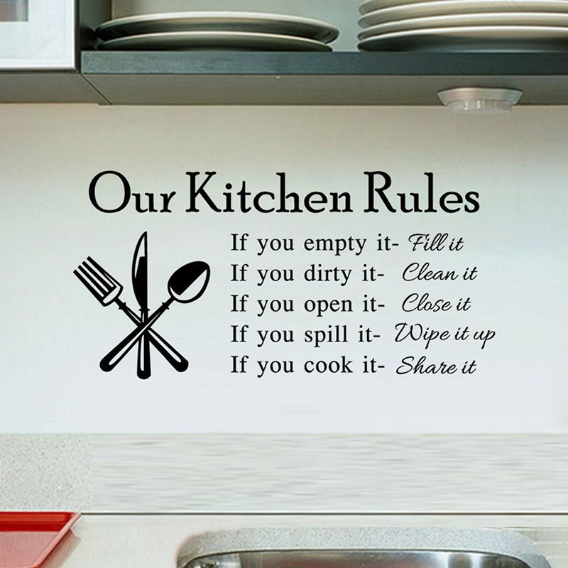 Kitchen rules living room kitchen vinyl wall stickers for kids room lettering art quote decals home