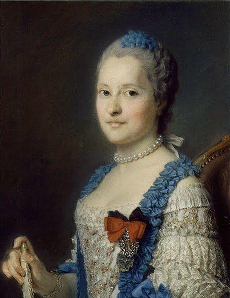 """Portrait of Marie-Josephus Princess of Saxony, Princess Royal of Poland, Twenty-fourth Dauphine of France and Princess of Viana (1731-1767)"" by Maurice Quentin De La Tour (1756)"
