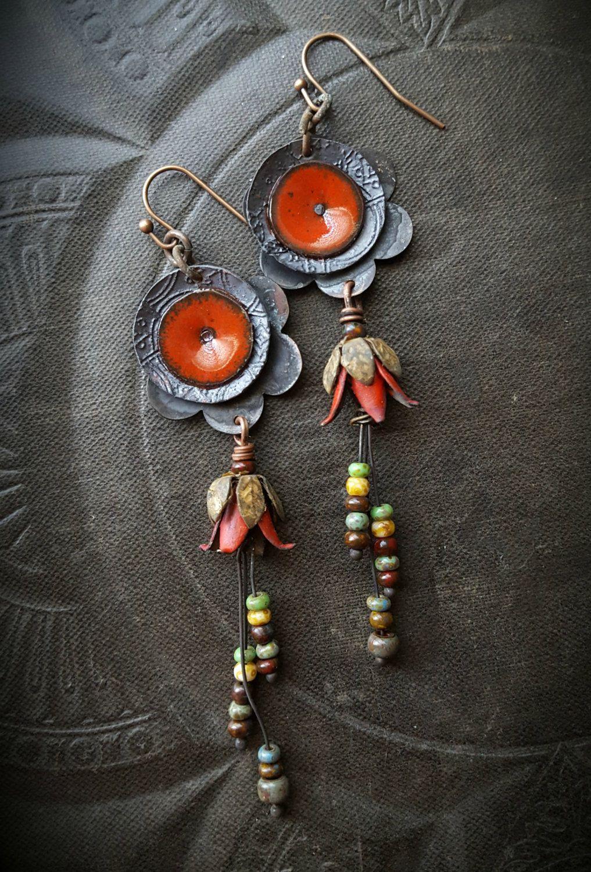 enamel earrings on copper hand-painted earrings vintage earrings enamel earrings