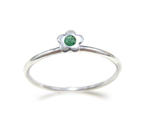 ZilverPassion Genuine Emerald Tiny Flower Sterling Silver Stacking Ring May Birthstone Size 2-15. 925 Sterling Silver, Nickel Free. 1.5mm Band Ring. Genuine Emerald. May Birthstone. Wear alone or Stacked with others.