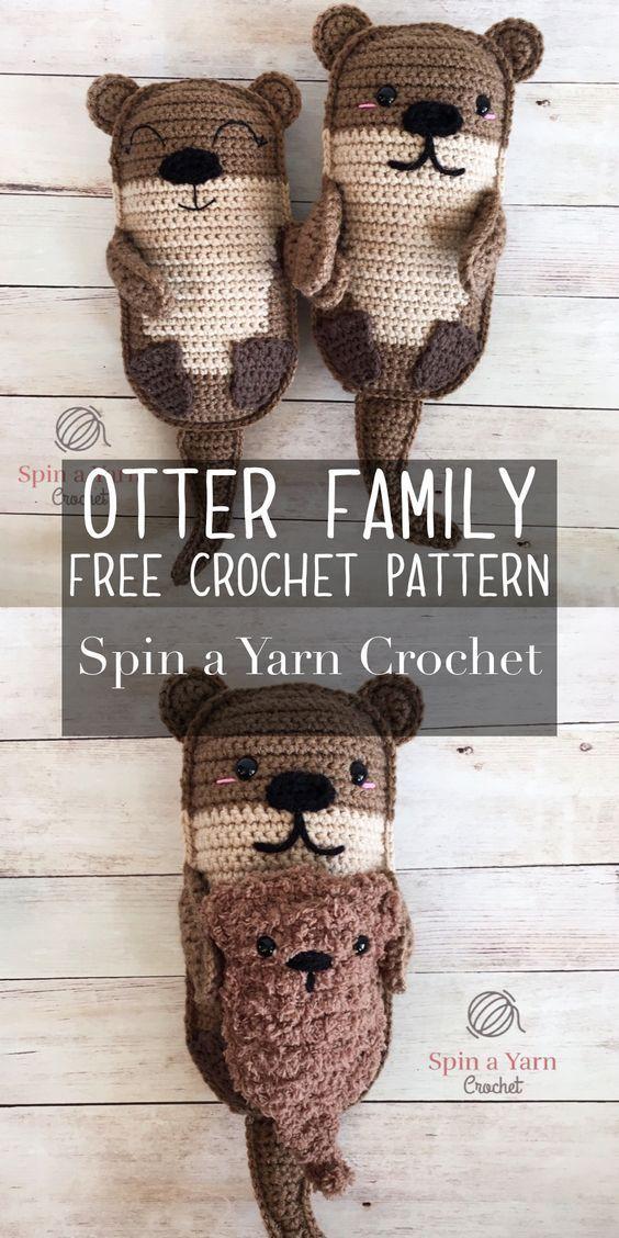 Patron de crochet gratuit de la famille Amigurumi Otter • Faites tourner un fil au crochet   – DIY mit Garn – Stricken, Häkeln, Sticken