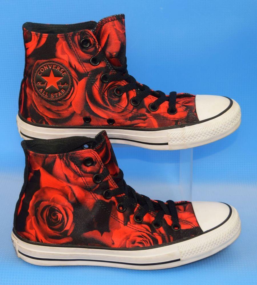 a005d65ce308 Converse Hi Top Black   Red (poppy) Satin Roses Print Mens 5 Womens 7 EUC!   Converse