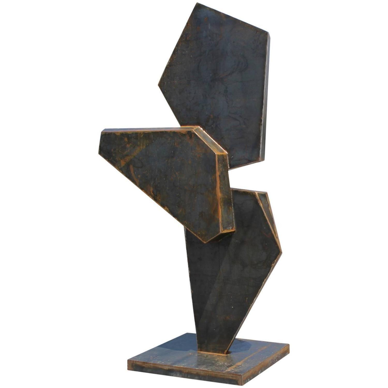 Large Modern Garden Sculptures: Monumental Stunning Geometric Corten Steel Sculpture