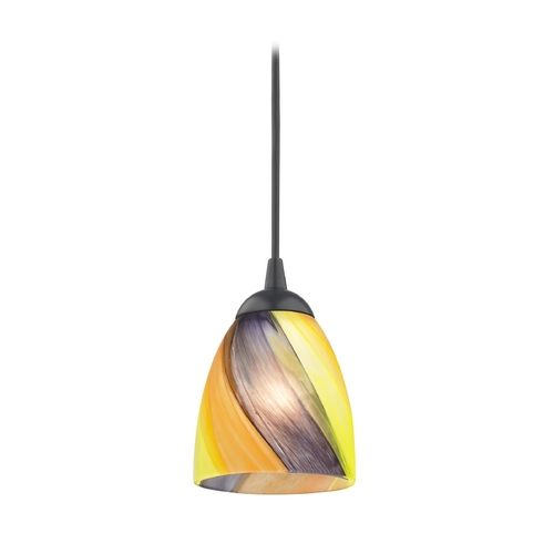 Black mini pendant light with multi colored art glass at destination lighting