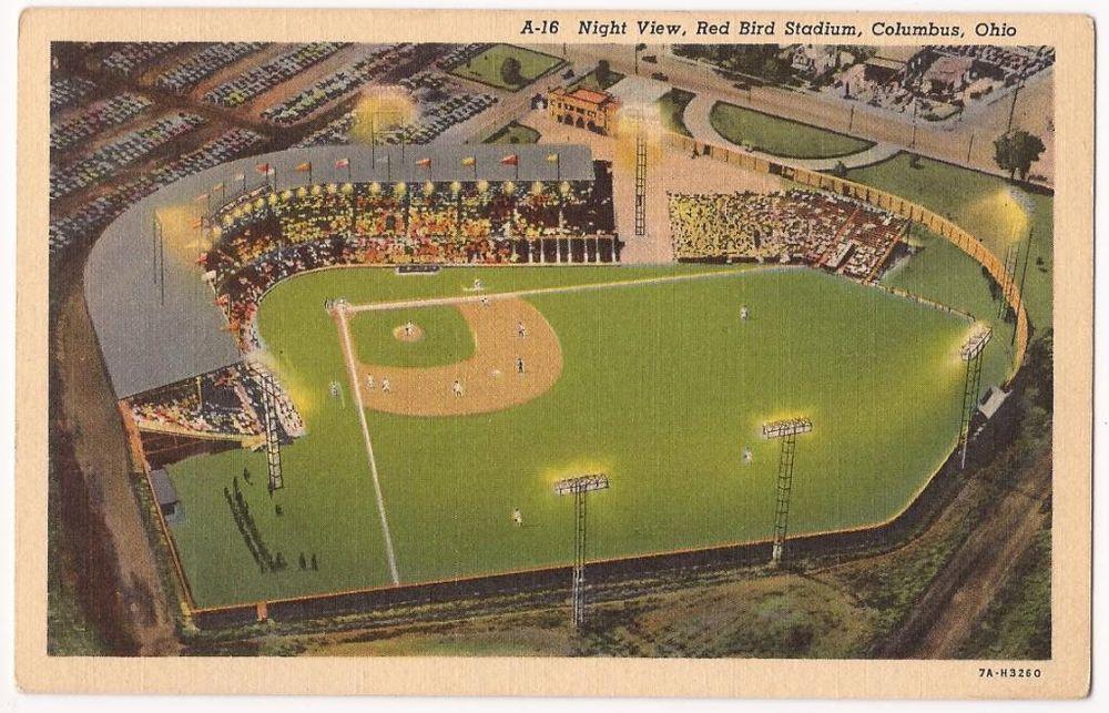 Columbus Ohio Postcard Red Bird Stadium Cardinals Minor League Baseball Linen Stadium Columbus Ohio