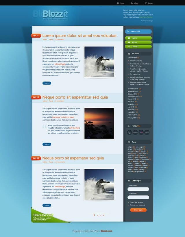 freebie blozzit a free professional htmlcss web template