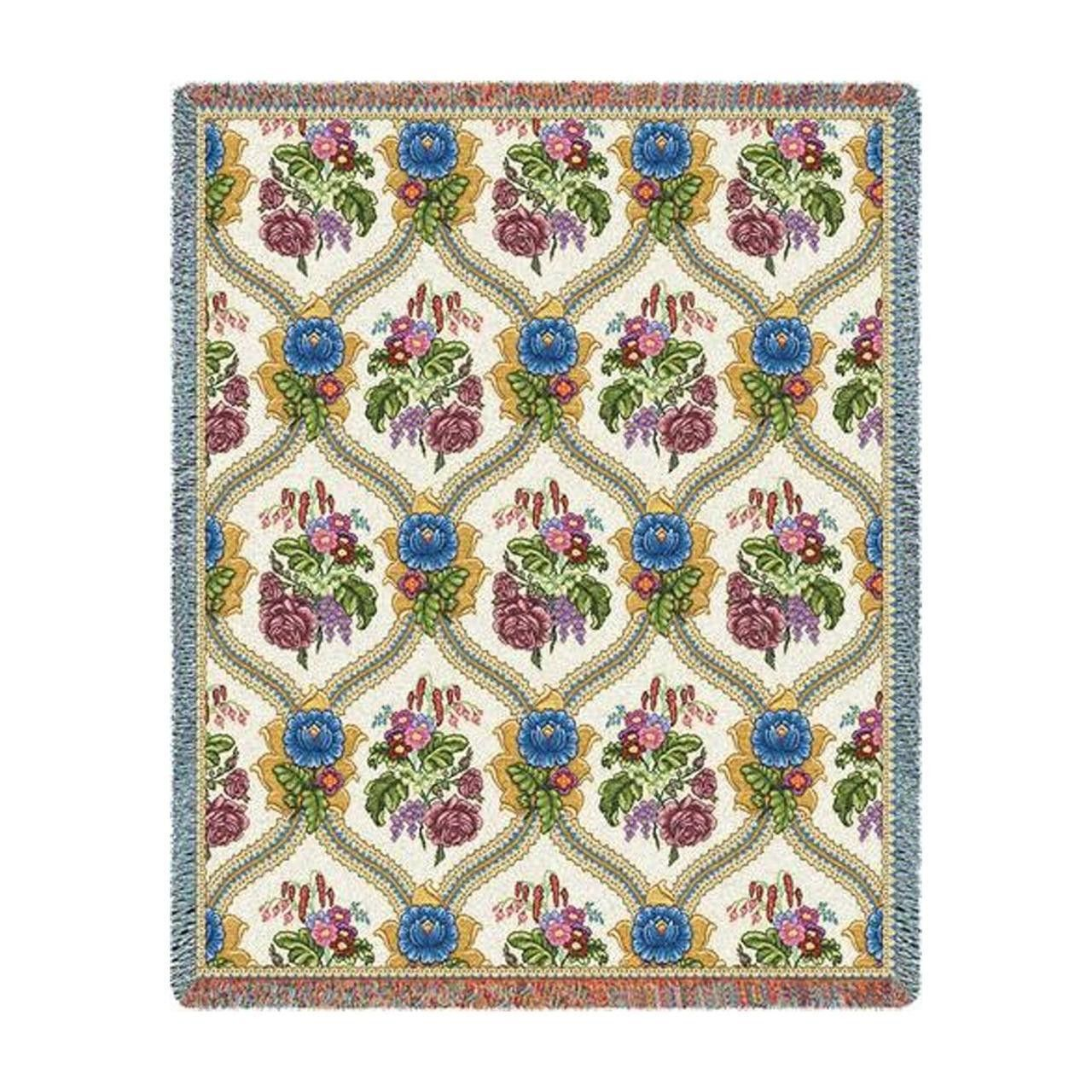 Bouquets of Flowers Art Tapestry Throw