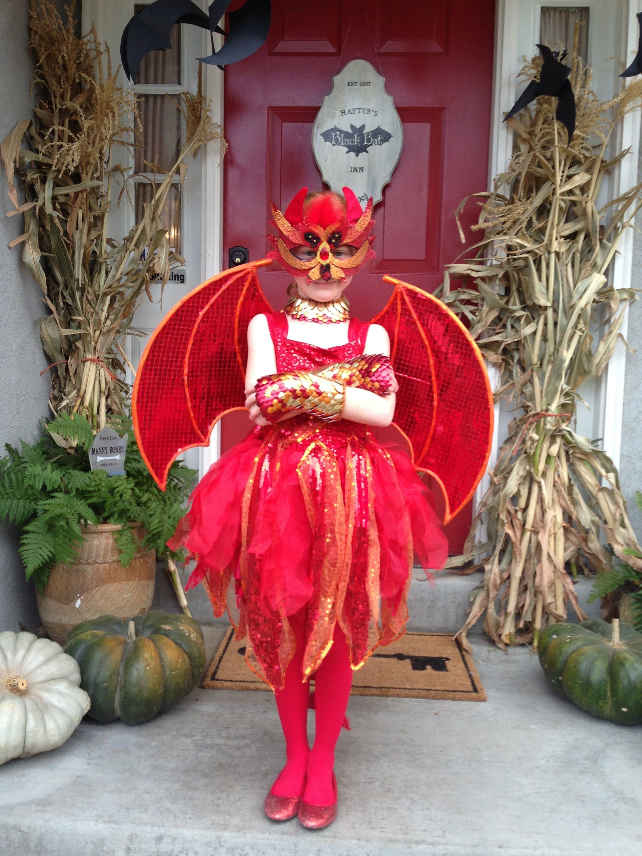 a sweet & fiery dragon costume for my little girl... (inspired by the mask she found at Michaels)