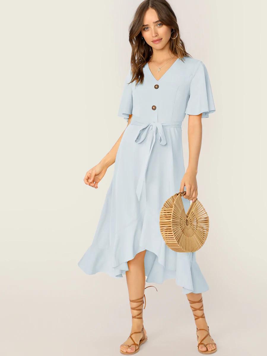 Women/'s Ladies Button Front Frill Shirt Dress