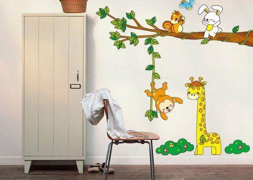 Wandtattoo Tierwelt Giraffe Affe Hasen \ Baum Wandaufkleber - wandtattoos für wohnzimmer