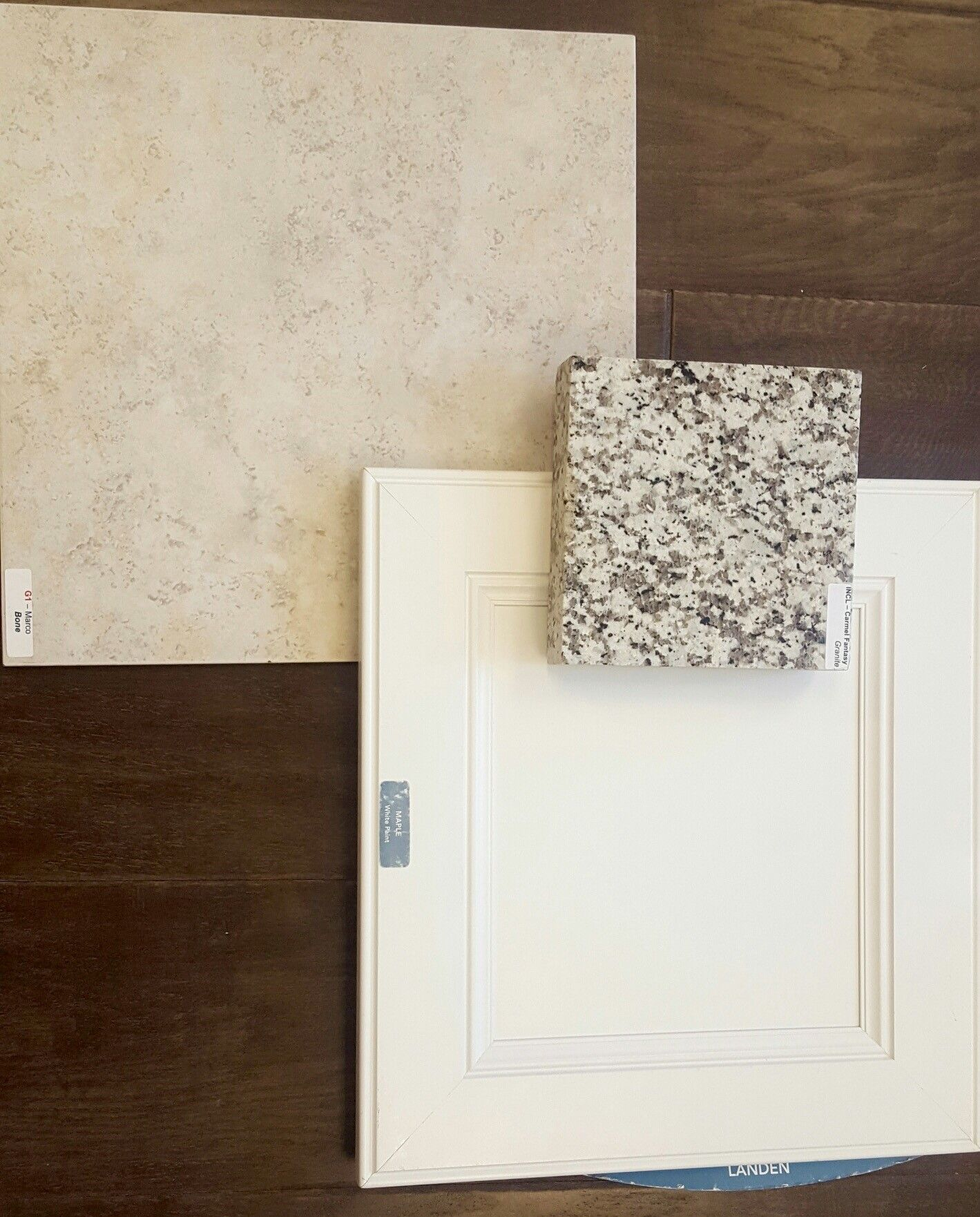 Marco Bone tile, Carmel Fantasy granite, white maple cabinet