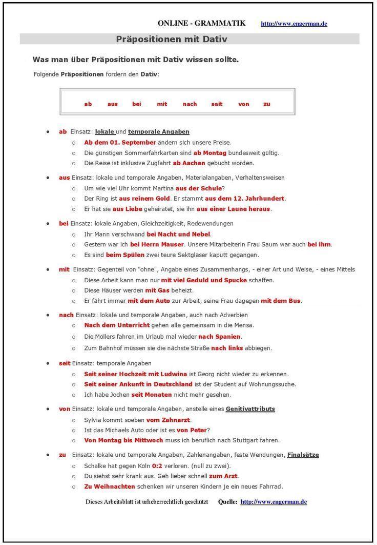 German Grammar - Präpositionen mit Dativ   German grammar, Advanced ...