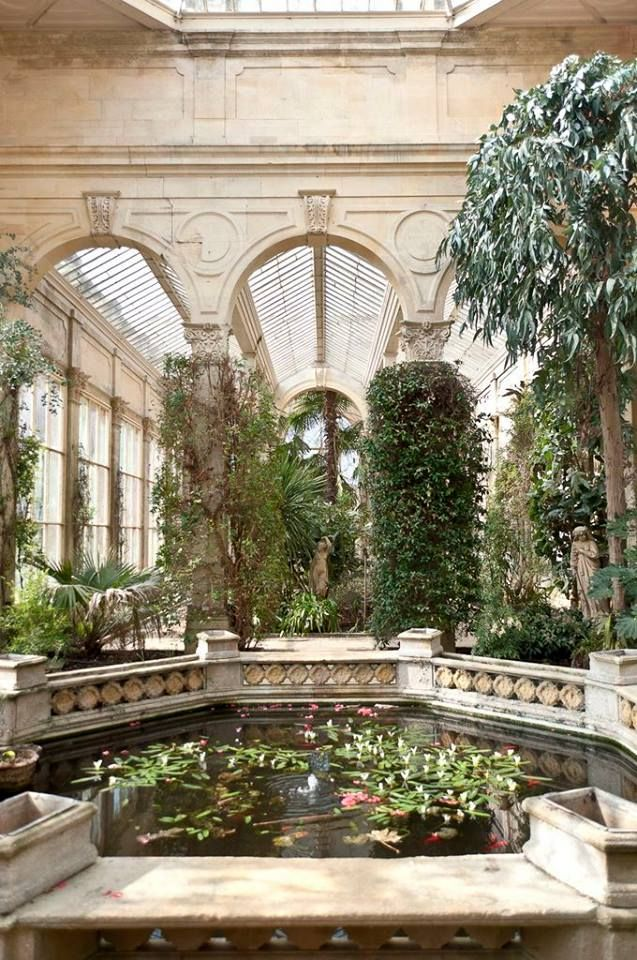 Grand conservatory with pond in UK #conservatorygarden