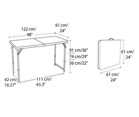 Lifetime Adjustable Leg Table 4428 White 4 Fold In Half Folding
