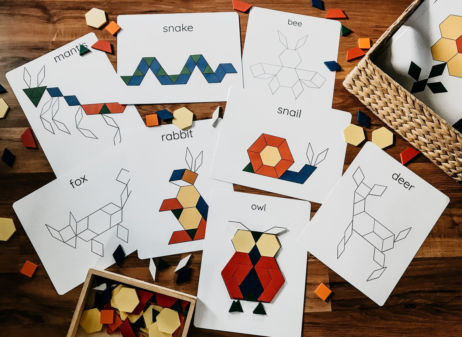 Nature Pattern Block Tangram Puzzles Printable Digital