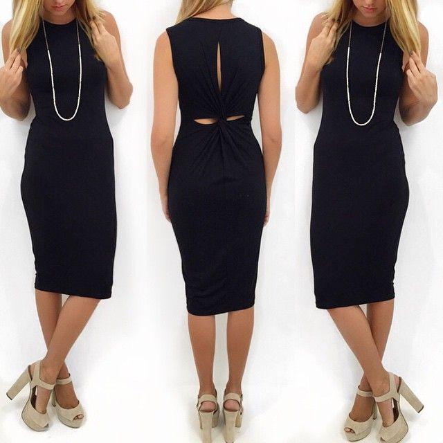 Little black dress with a midi twist #twisting #LBD