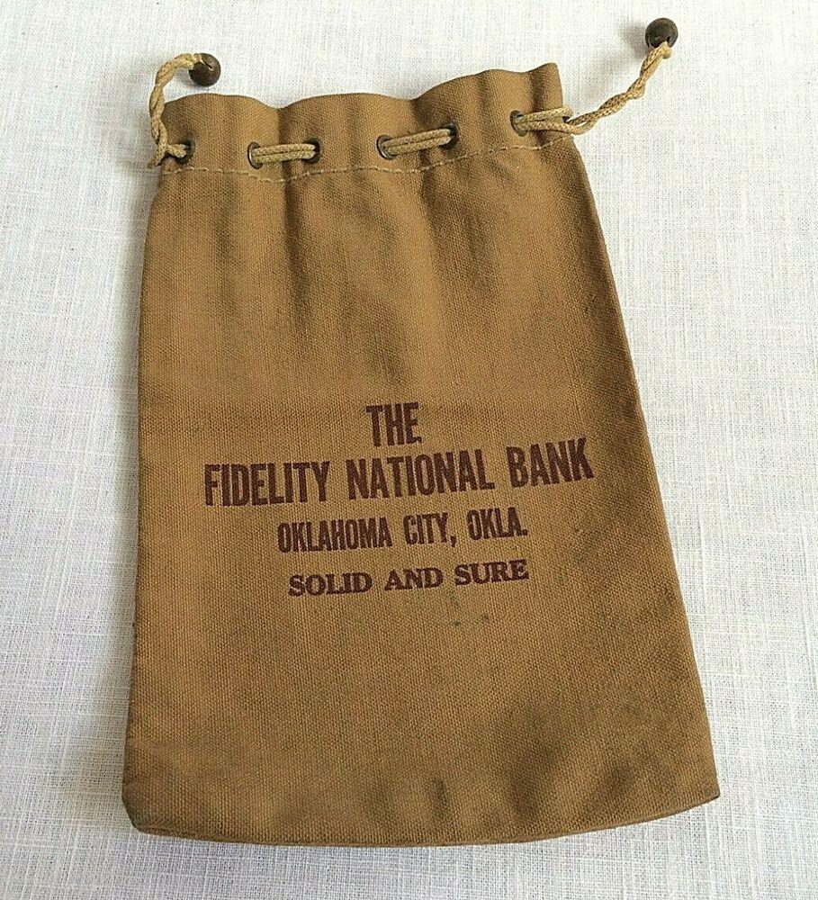 Fidelity National Bank Oklahoma City Ok Vintage Canvas Bank Deposit Bag Vintage Canvas Bank Bag Ponca City