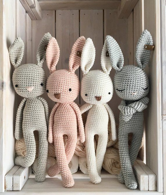 crochet Bunny, a crochet toy for a newborn or child gift, newborn photo prop or photo session #knittedtoys