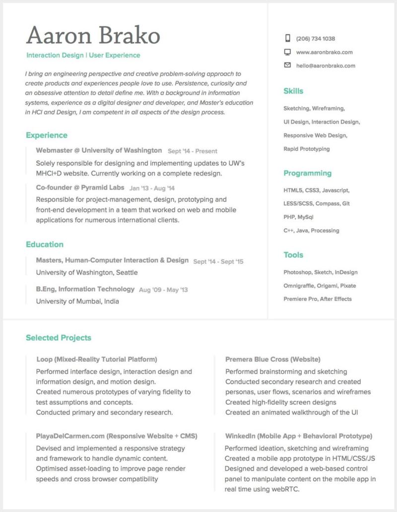 8 Brilliant Ux Designer Resumes That Secured Job Offers From Google Resume Design Master Education Infographic Resume