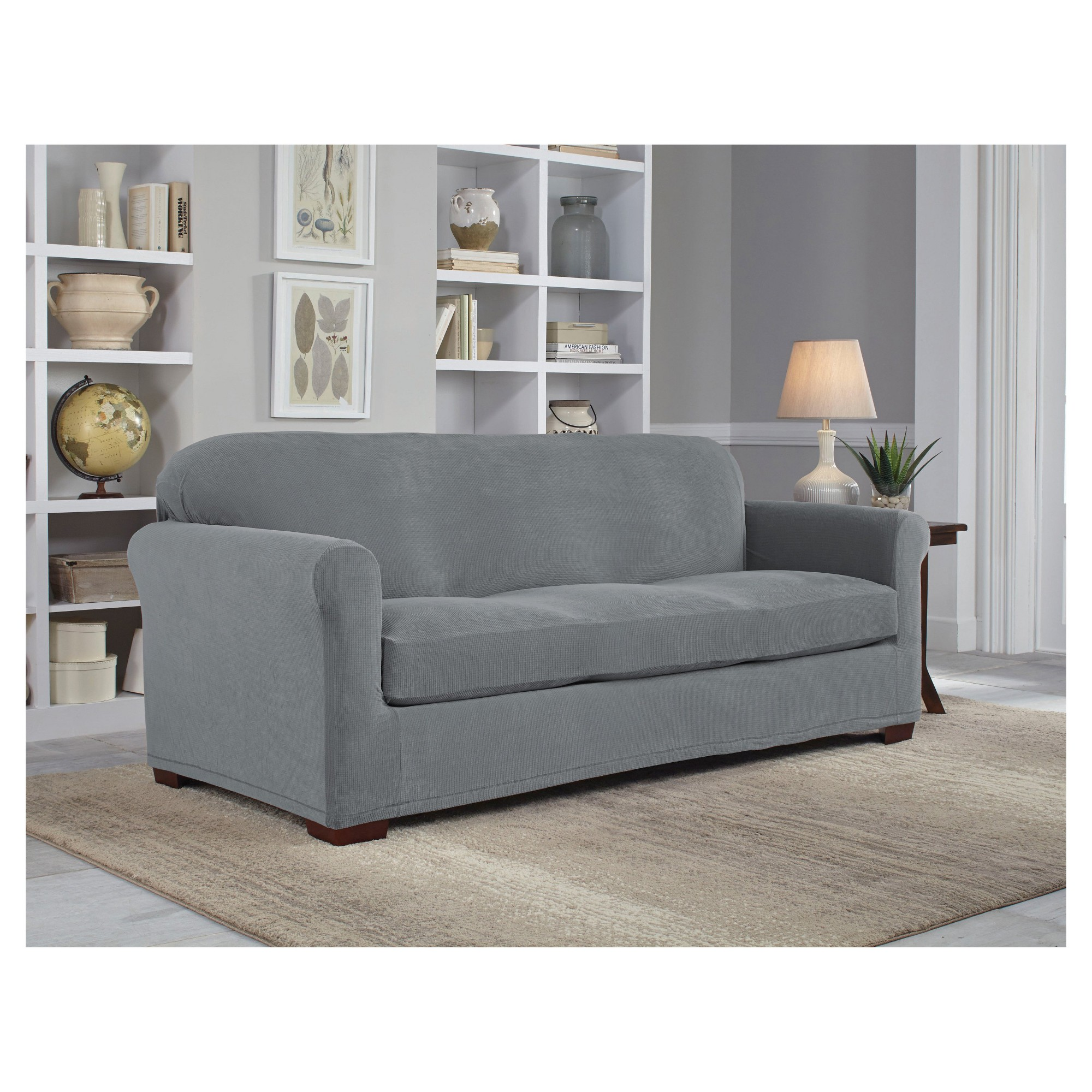 Gray Stretch Grid Sofa Slipcover - Serta | Products | Suede ...