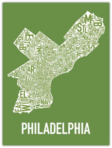 Philadelphia philly neighborhood poster map art favorite places philadelphia philly neighborhood poster map art freerunsca Gallery