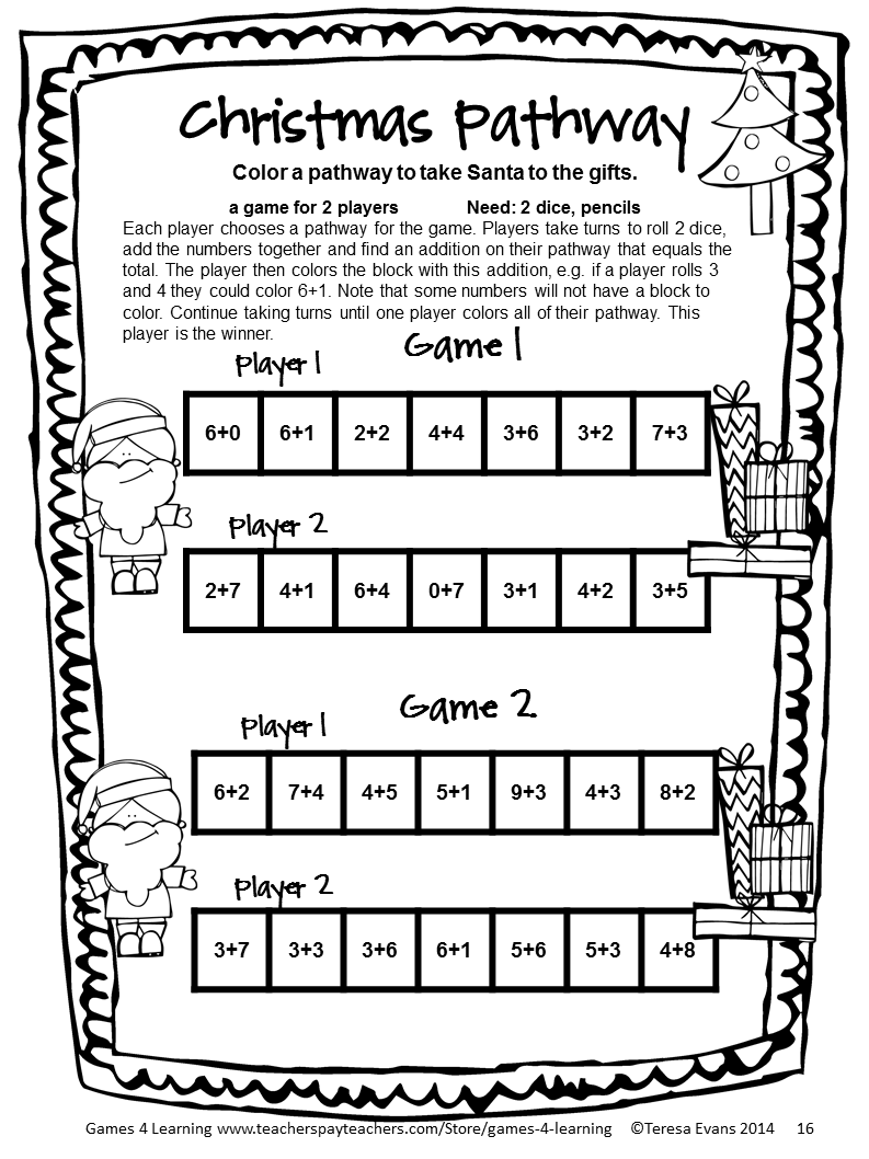 NO PREP math game from Christmas Math Games Second Grade