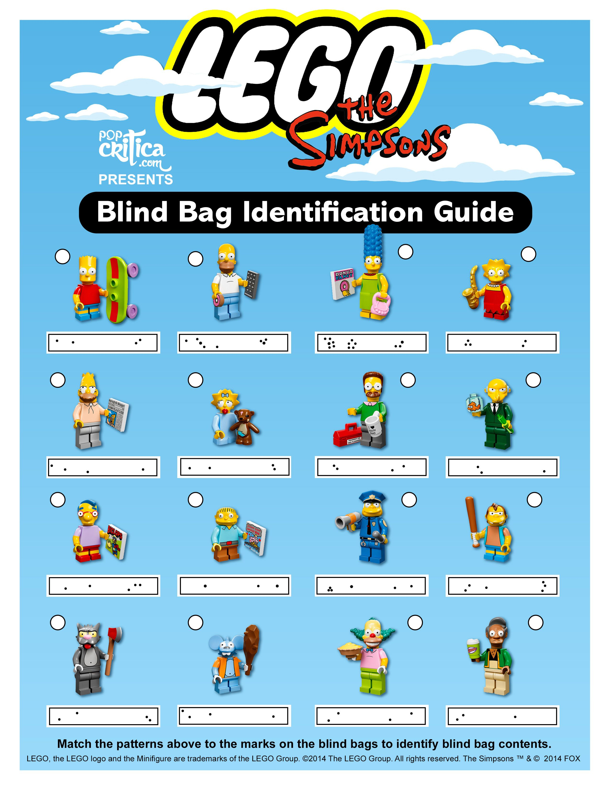 Identification Guide To Lego Simpsons Minifigure Blind